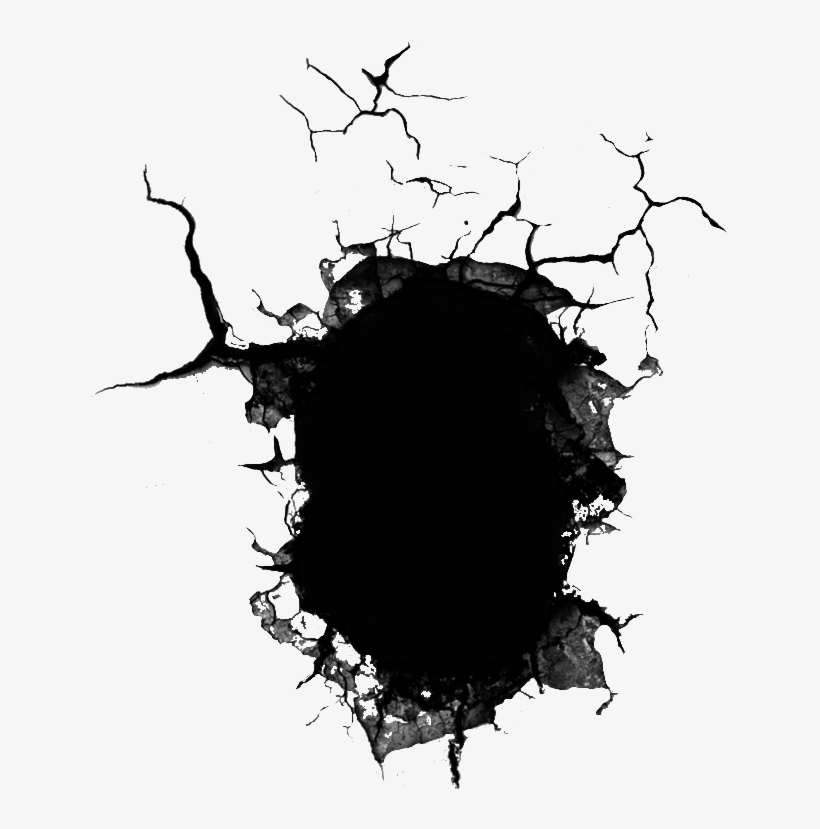 Wall Hole Cracked Cracking Cracks Ground Overlay - Cracked Hole In Wall, transparent png #2956752
