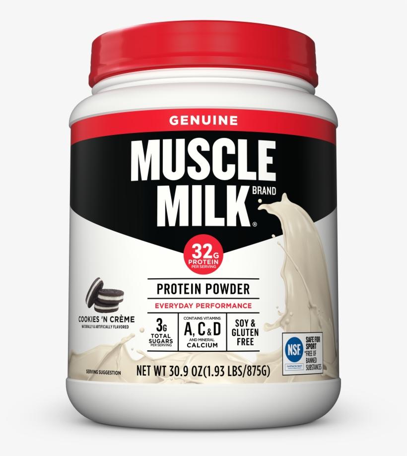 Muscle Milk Genuine Protein Powder, Cookies & Cream, - Muscle Milk Protein Cookies And Cream, transparent png #2959338