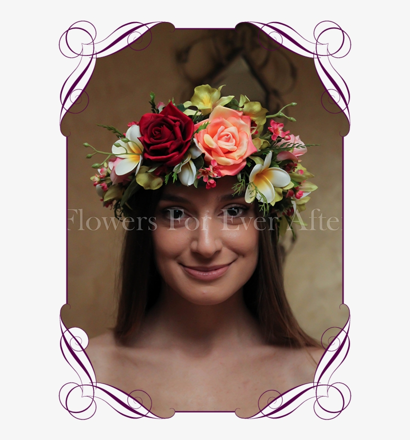 Silk Artificial Tropical Flower Crown Halo - Tropical Flower Crown, transparent png #2963145
