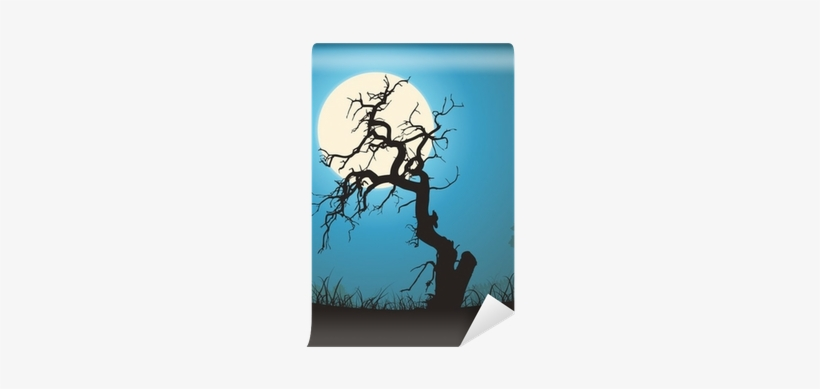 Dead Tree Silhouette In The Moonlight Wall Mural • - Dead Tree At Graveyard, transparent png #2980899