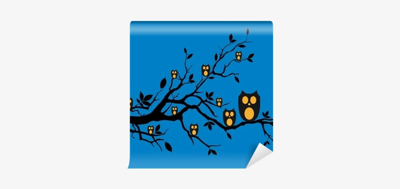 Night Owls Sitting On Tree Branch, Vector Wall Mural - Tree Branch, transparent png #2982218