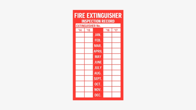 Fire Extinguisher Inspection Tag Template Fire Extinguisher