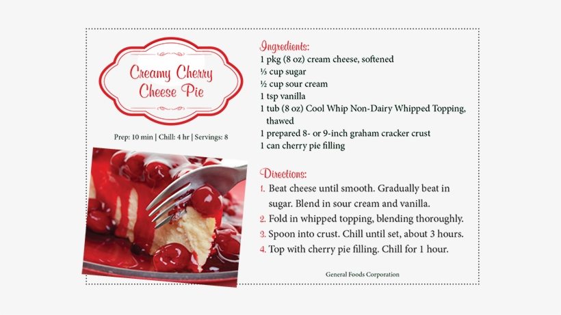 Top 5 Favorite Pies - Cherry Pie Recipe Card, transparent png #2983665