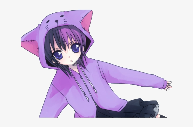 If Youwant Design - Purple Cat Anime Girl, transparent png #2984789