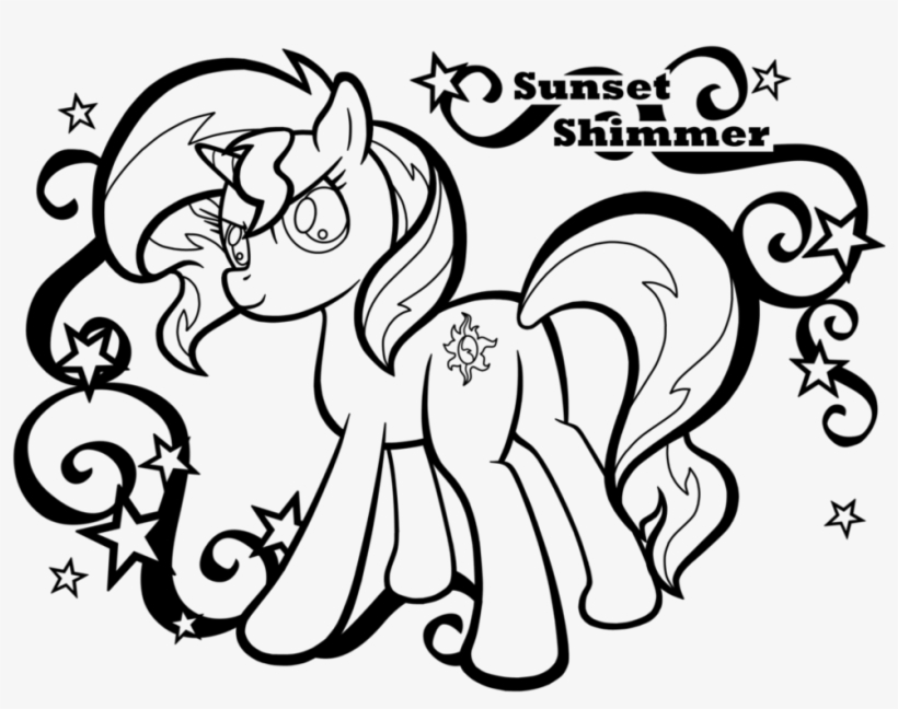 Sunset Coloring Pages - Sunset Shimmer Coloring Page, transparent png #2990357