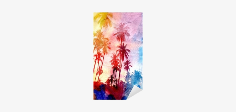 Watercolor Silhouettes Of Palm Trees Sticker • Pixers® - Colorful Palm Trees, transparent png #2990948