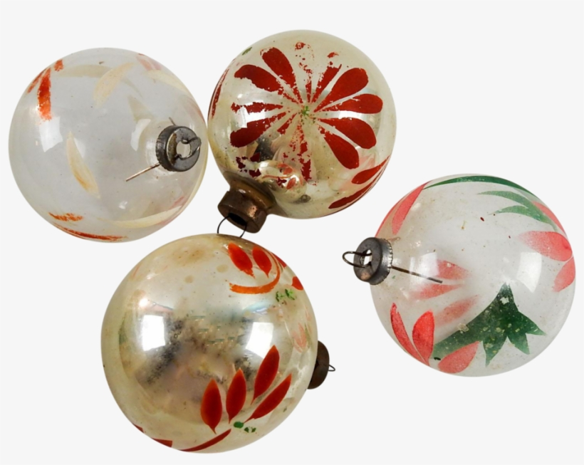 Vintage Silver & Clear Hand Painted Christmas Ornaments - Christmas Day, transparent png #2998577