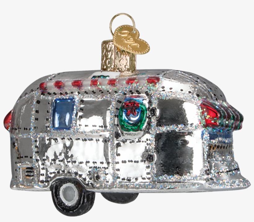 Vintage Trailer Ornament - Old World Christmas Vintage Trailer Glass Blown Ornament, transparent png #2998669