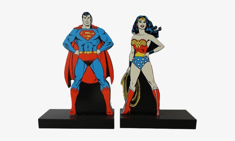 Aparador De Livro De Superman & Mulher Maravilha Dc - Super Homem E Mulher Maravilha, transparent png #30310