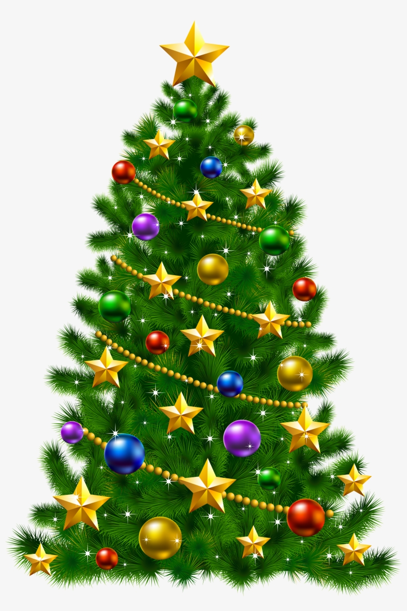 Vector Library Christmas Tree Star Clipart - Christmas Tree With Stars, transparent png #31617