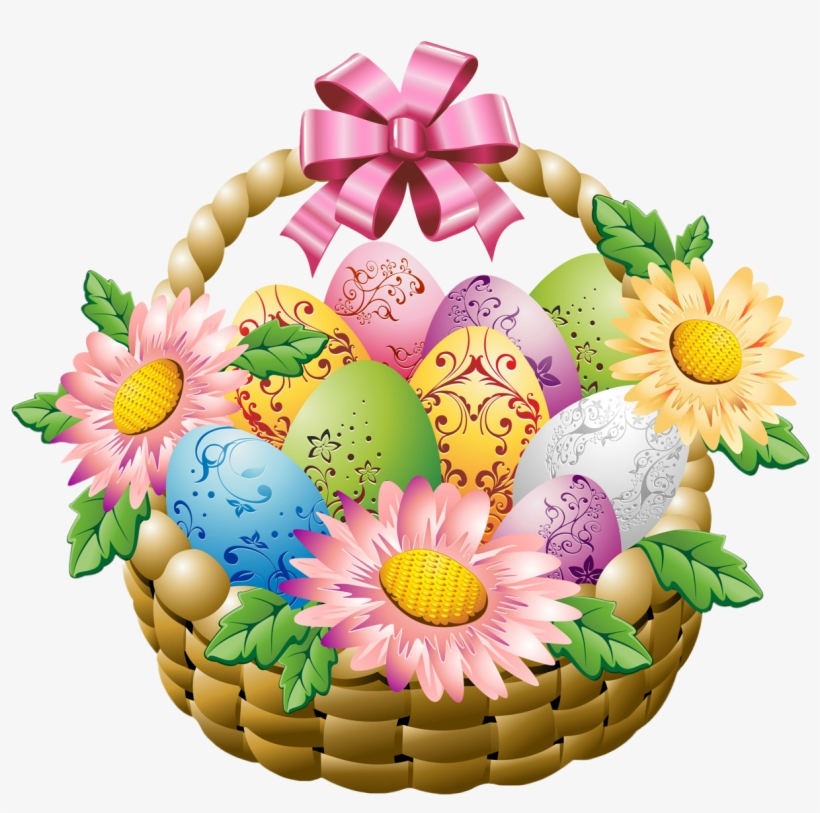 Clip Transparent Library Basket With Eggs And Png Picture - Easter Basket With Flowers, transparent png #32100