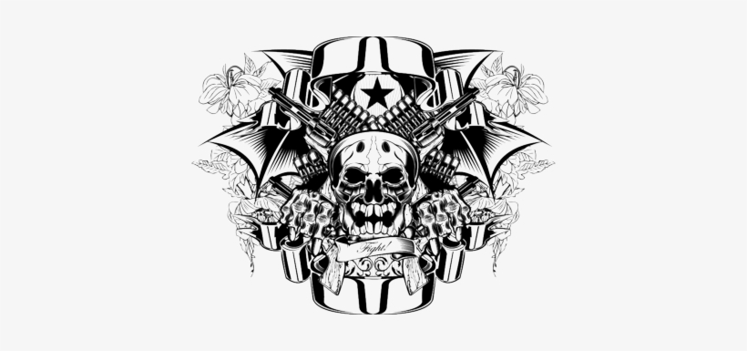 """Body Art Tattoos Png Clipart - Skull And Crossed Guns Square Car Magnet 3"""" X 3"""", transparent png #32583"""