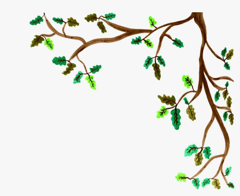 Oak Branch Watercolor - Tree Branches Painted Png, transparent png #34527