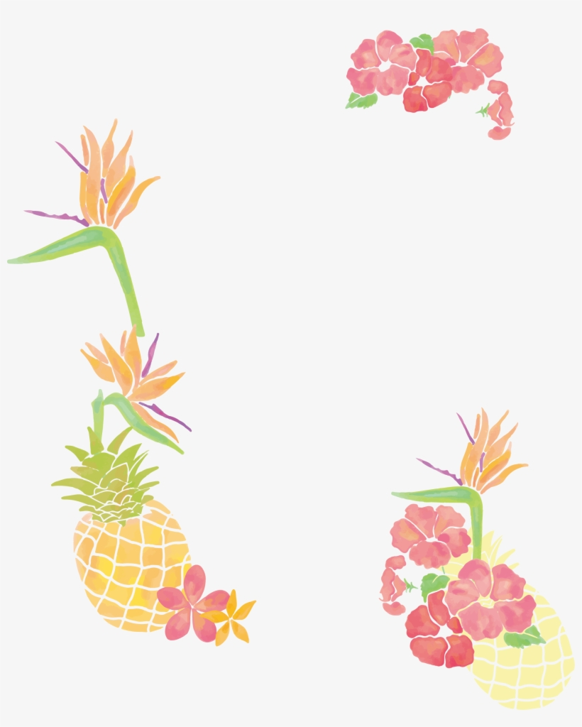 Freeuse Stock Pineapple Clip Art Small Fresh Tree Borders - Watercolor Pineapple And Floral, transparent png #34548