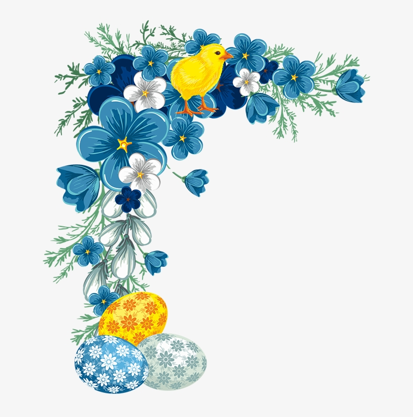 Easter Corner / Border Flower Border Png, Flower Border - Blue Flower Border, transparent png #36705