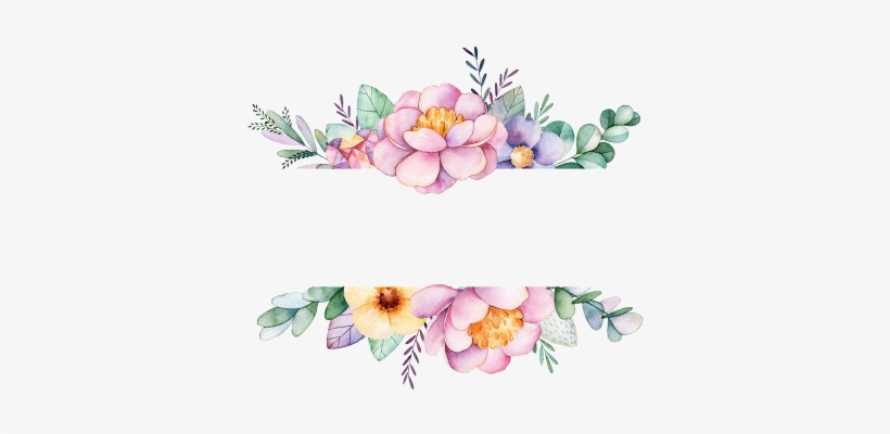 Watercolor Flower Border Png - Watercolor Flowers Frame Png, transparent png #36917