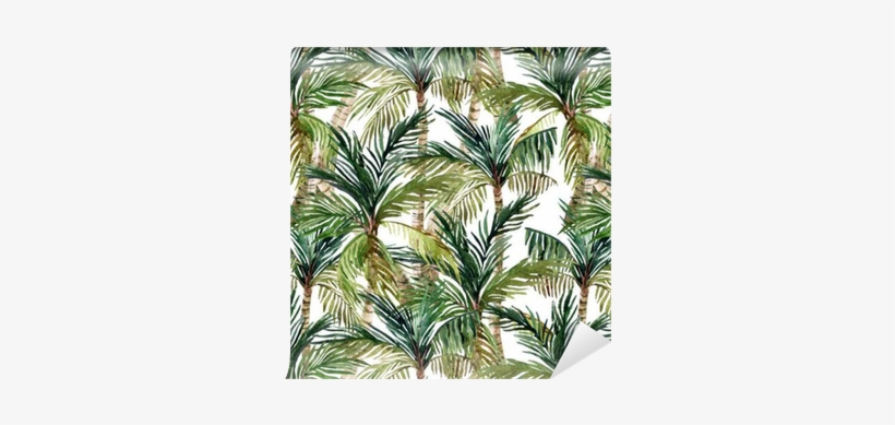 Watercolor Palm Tree Seamless Pattern Wallpaper • Pixers® - Watercolor Painting, transparent png #37964