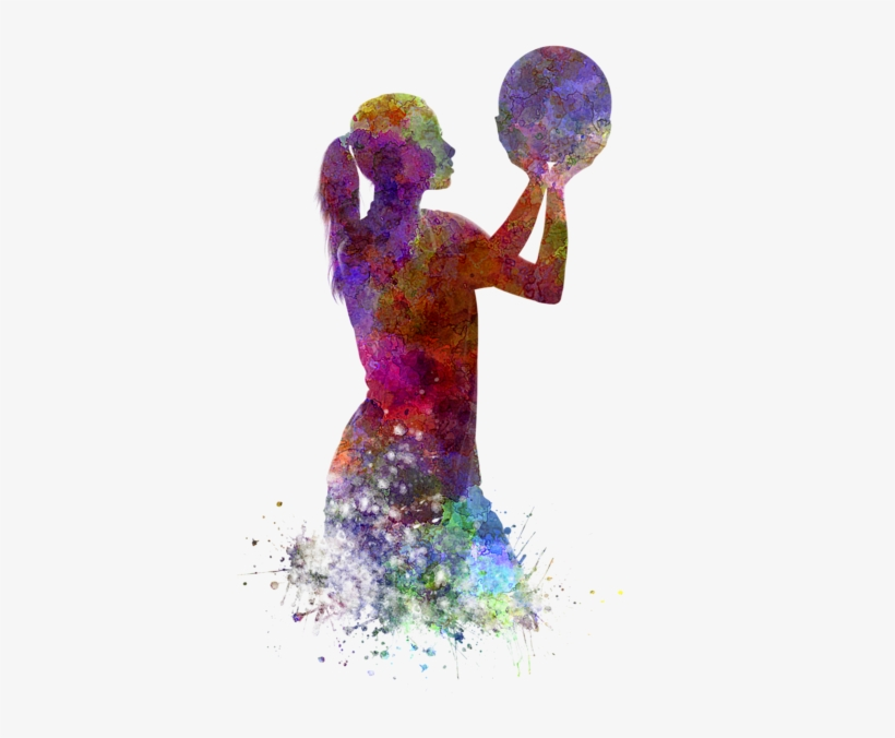 Bleed Area May Not Be Visible - Watercolor Basketball Player, transparent png #38667