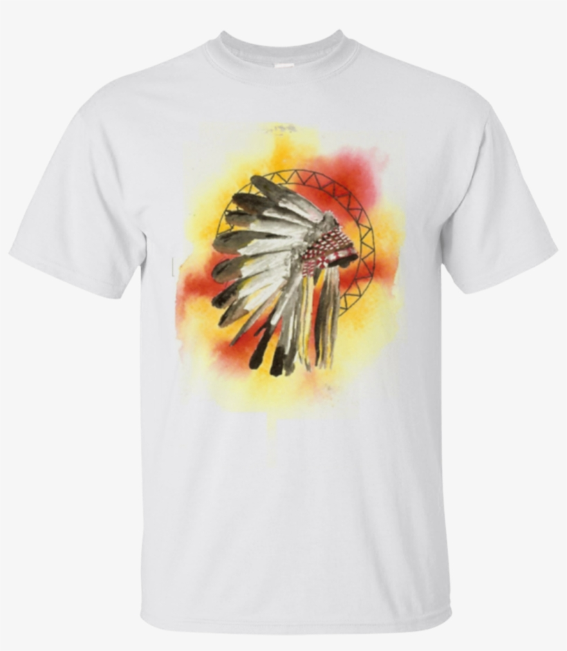Watercolor Native American Headdress T Shirt Gildan - Zazzle Native American Headresss Key Ring, transparent png #39676