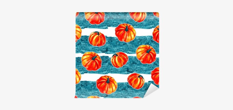 Artistic Seamless Halloween Pattern Design - Watercolor Pumpkin Background, transparent png #39916