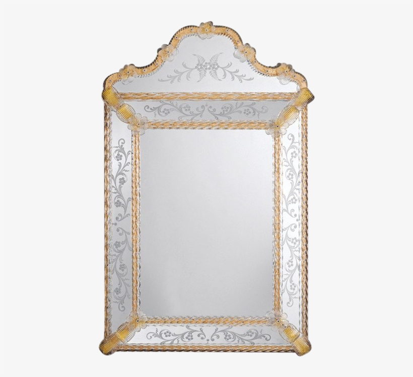 Murano Venetian Mirror With Gold Ribbon Border - Decorative Crafts 876 Venetian Glass Mirror, transparent png #300931