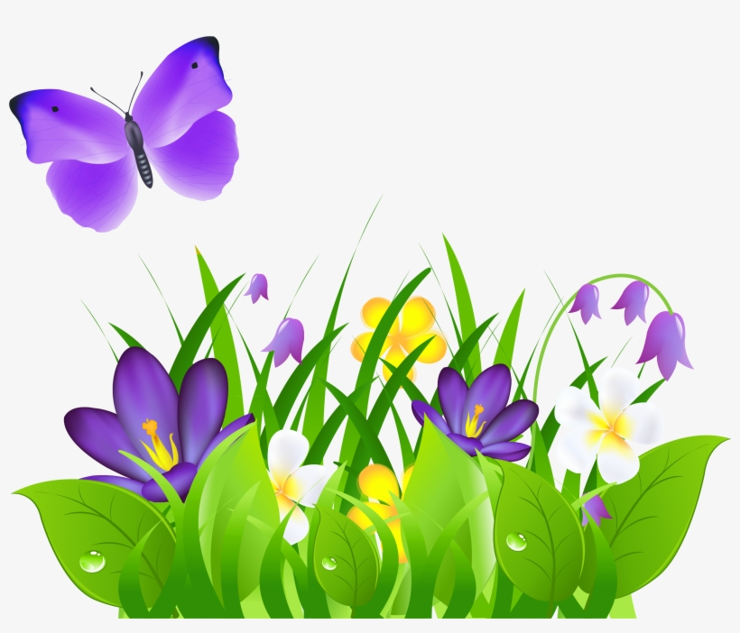 Butterfly On Flower Png Butterfly With Flowers Clipart Free