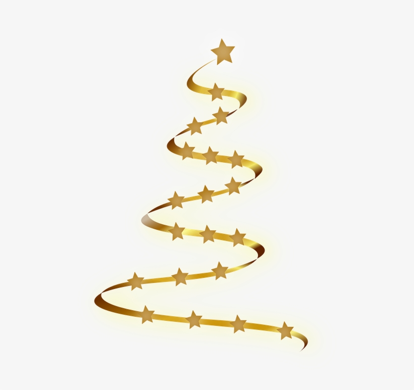 Transparent Gold Christmas Tree With Green Stars Png - Gold Christmas Tree Clipart, transparent png #307054