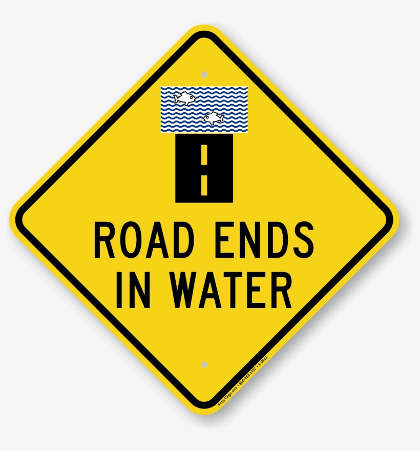 "Road Ends In Water Diamond Shape Sign - Private Road, No Trespassing, No Hunting Sign, 24"", transparent png #308653"