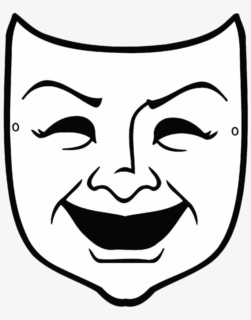 Comedy-mask Copy - Greek Theater Mask Templates, transparent png #3004290