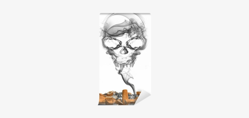 Ashtray With Cigarettes And Smoke Skull Wall Mural - Smoke, transparent png #3006250