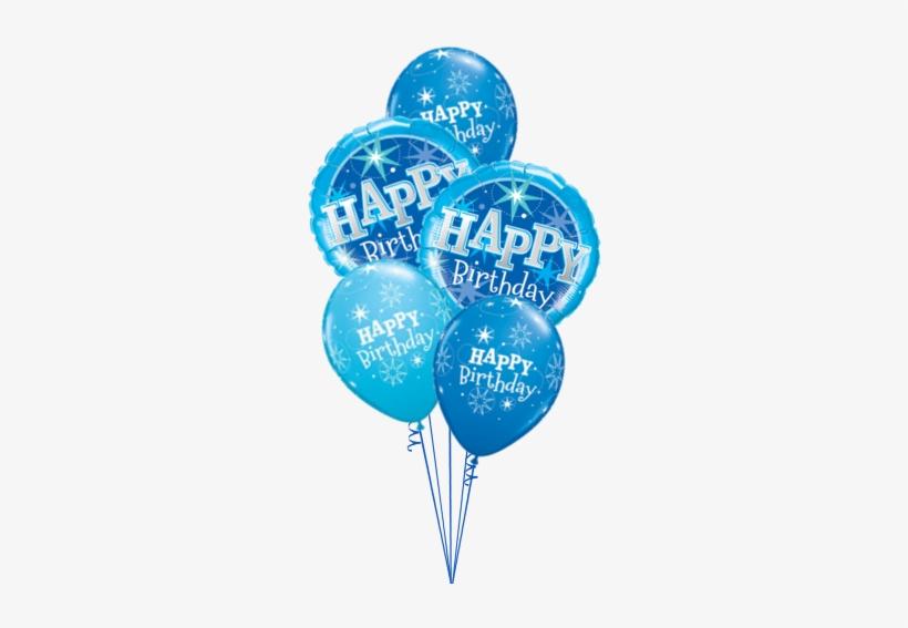 Blue Sparkle - Blue Sparkle Happy Birthday Foil Balloon, transparent png #3007393