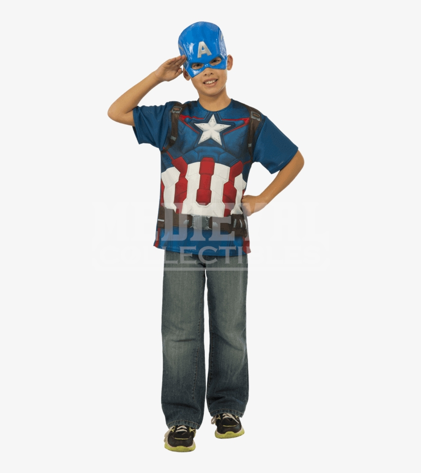 Kids Avengers 2 Captain America Costume Top And Mask - Avengers 2 Captain America T-shirt Costume, transparent png #3008252