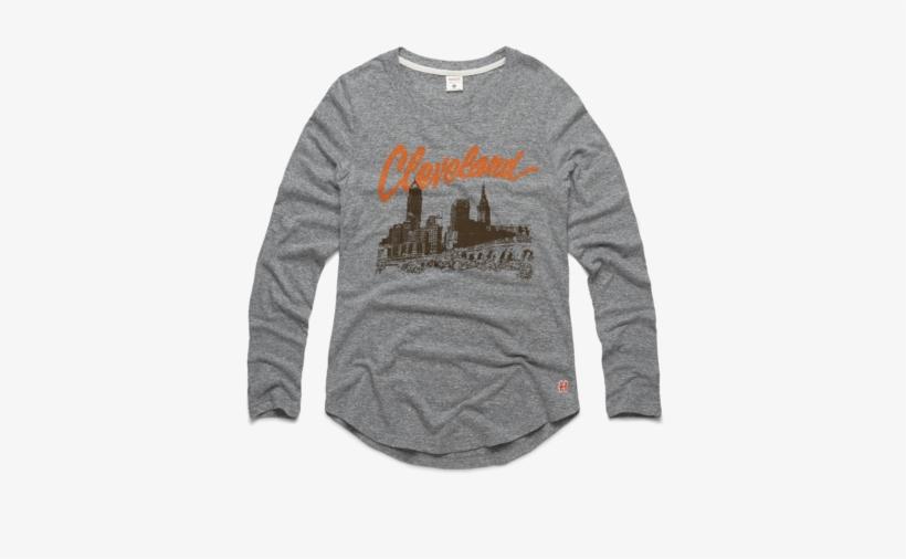Women's Cleveland Skyline Long Sleeve Tee Retro Ohio - Long-sleeved T-shirt, transparent png #3011102