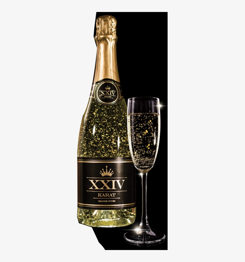 The Golden Flakes In Each Bottle Of Xxiv Karat Grande - Champagne With Gold Flakes, transparent png #3011643
