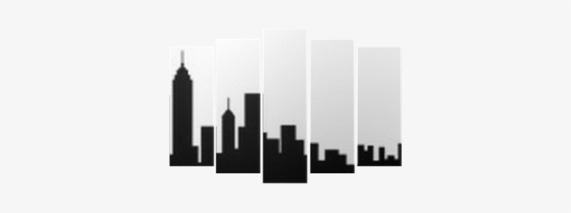 New York City Skyline Silhouette Pentaptych • Pixers® - New York City Skyline Silhouette, transparent png #3011945
