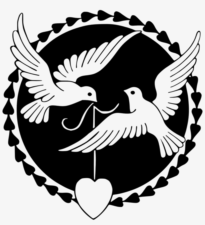 Wedding, Pigeon Love Happiness Valentine Dove Heart - Love Birds Clipart Black And White, transparent png #3012033