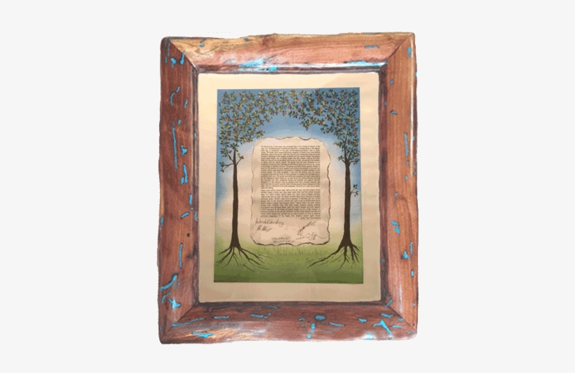 Custom Mesquite Frame With Turquoise Inlays - Picture Frame, transparent png #3014934