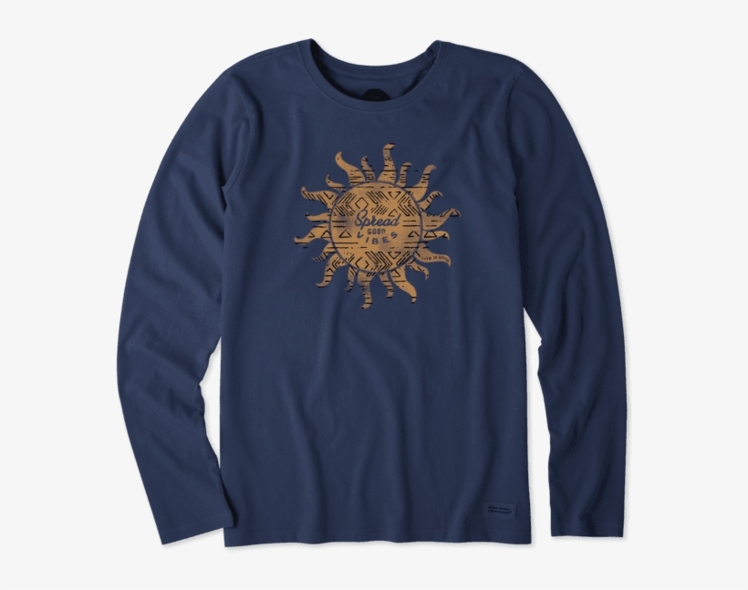 Women's Tribal Sun Long Sleeve Crusher Tee - T-shirt, transparent png #3015514
