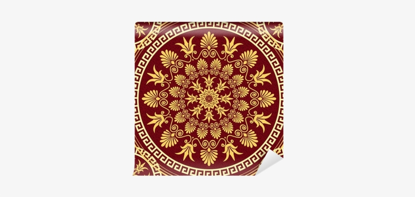 Vector Seamless Elegant Lace Gold Ornament Wall Mural - Red Golden Pattern Circle, transparent png #3017075