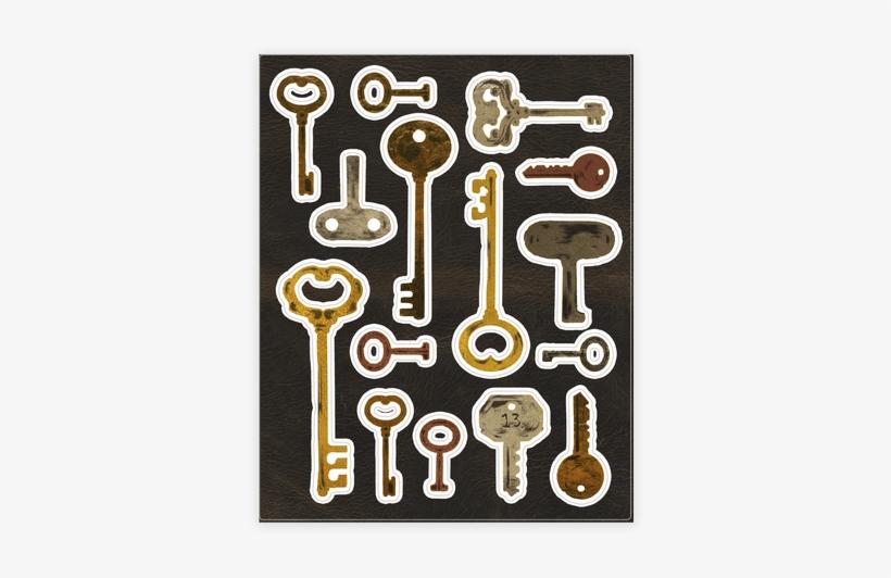 Antique Key Sticker/decal Sheet - Sticker, transparent png #3031155