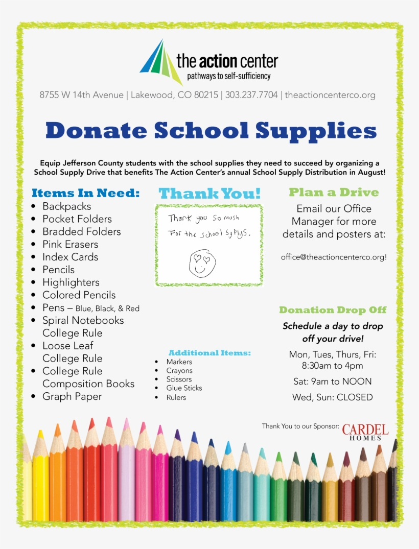 For Volunteer Opportunities, Please Email - School Supplies Donation