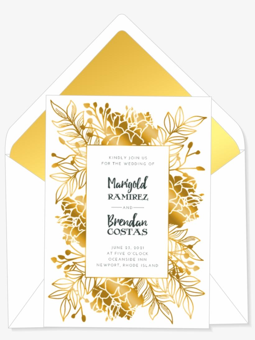 Flower Frame Wedding Invitation - Wedding Invitation, transparent png #3038266