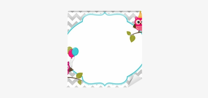 Owl Party Invitation Card Template With White Frame