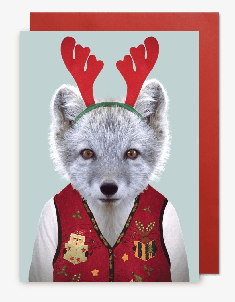 Christmas Card Arctic Fox - Christmas Vest Greeting Card, transparent png #3039631
