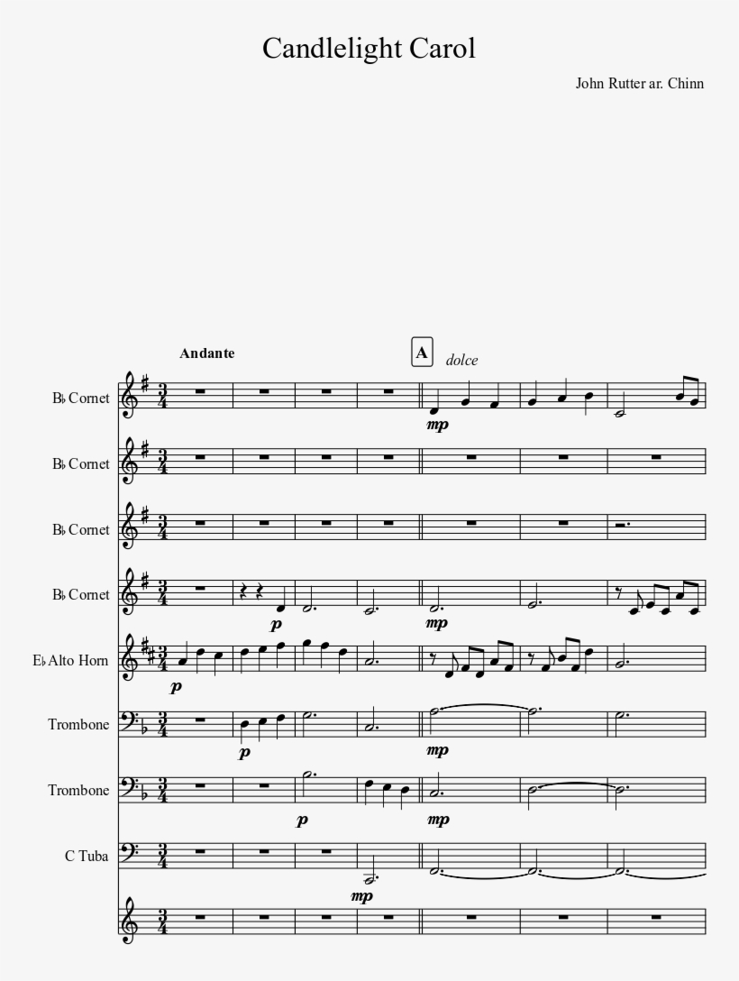 Candlelight Carol Sheet Music Composed By John Rutter - Stand Up And Get Crunk Sheet Music, transparent png #3041551