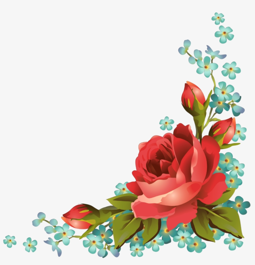 Ftestickers Art Floral Flowers Roses Corner Vintage - Roses Frames And Borders, transparent png #3049632