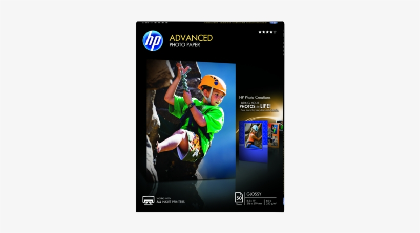 Hp Advanced Glossy Photo Paper-50 Sht/letter/8 - Hp Advanced Glossy Photo Paper-50 Sht/letter/8.5 X, transparent png #3052494