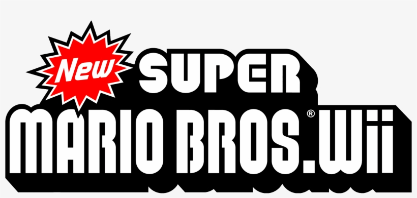 New Super Mario Bros - New Super Mario Bros Wii Logo, transparent png #3074916