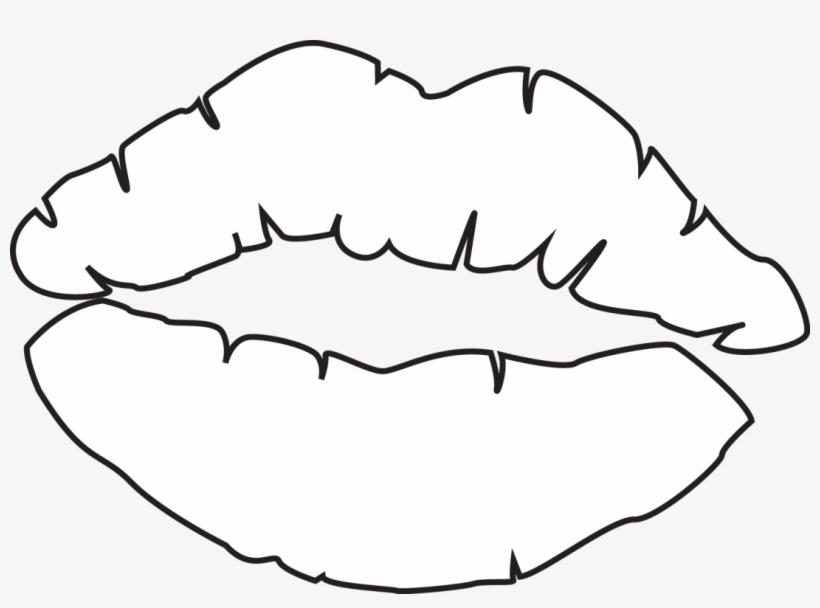 Kiss outline. Printable lips template coloring