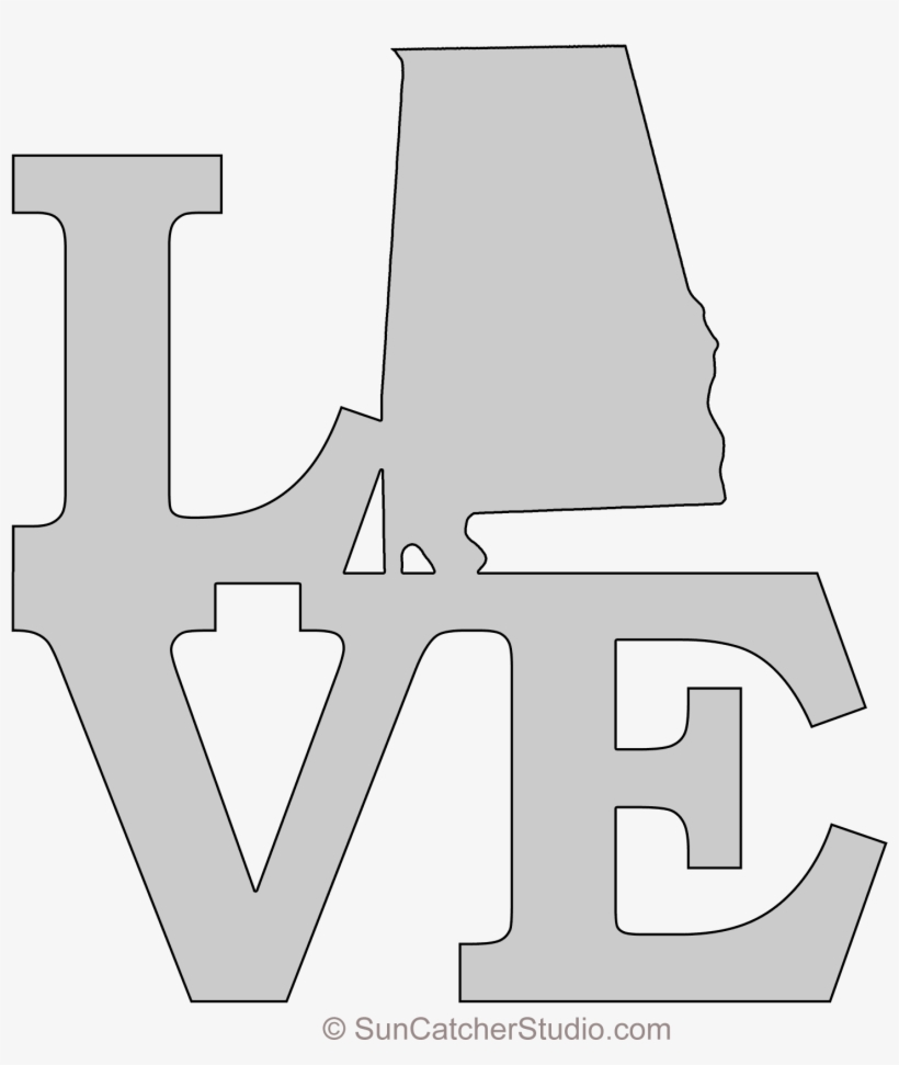 Alabama Love Map Outline Scroll Saw Pattern Shape State Mickey